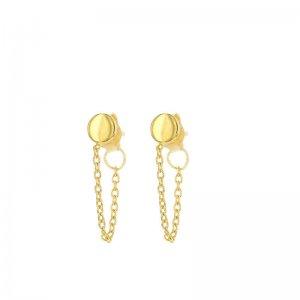Gouden oorknoppen met ketting en cirkel