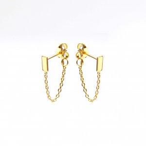 Gouden oorknoppen met ketting rechthoek