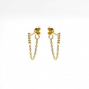 Gouden oorknoppen met ketting staafje
