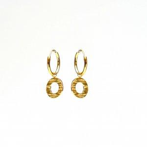 Gouden oorringen met reliëf cirkels