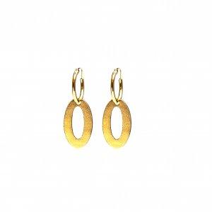 Gouden oorringen met open ovaal