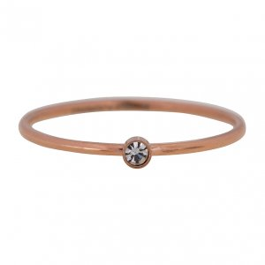 CHARMINS | ROSE/STALEN EXTRA SMALLE RING MET TRANSPARANT STEENTJE