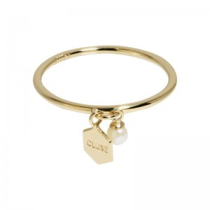 ESSENTIELLE GOLD HEXAGON AND PEARL CHARM RING