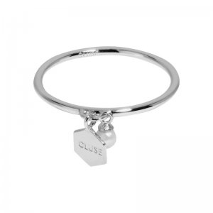 ESSENTIELLE SILVER HEXAGON AND PEARL CHARM RING