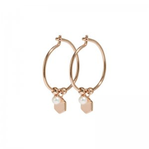 ESSENTIELLE ROSE GOLD HEXAGON AND PEARL CHARM HOOP EARRINGS