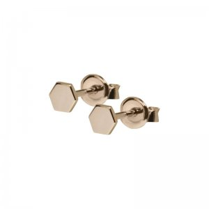 CLUSE | ESSENTIELLE ROSE GOLD HEXAGON STUD EARRINGS