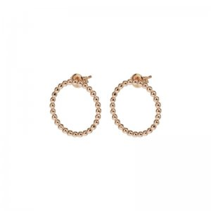 ESSENTIELLE ROSE GOLD OPEN CIRCLE EMBELLISHED STUD EARRINGS
