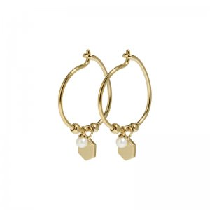 ESSENTIELLE GOLD HEXAGON AND PEARL CHARM HOOP EARRINGS