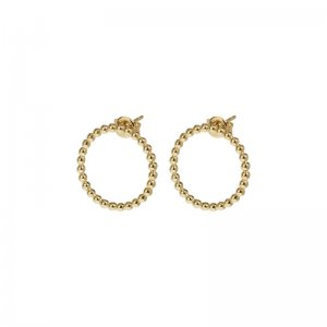 ESSENTIELLE GOLD OPEN CIRCLE EMBELLISHED STUD EARRINGS