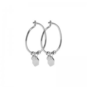 CLUSE | ESSENTIELLE SILVER HEXAGON AND PEARL CHARM HOOP EARRINGS