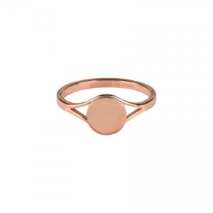 rosegoud stalen shiny ring charmins