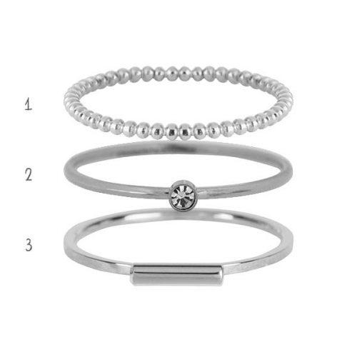set ringen staal zilver