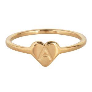 ring met letter a goud