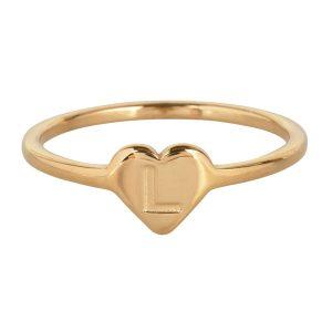 ring met letter l goud