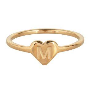 ring met letter m goud