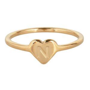 ring met letter n goud