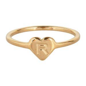 ring met letter r goud