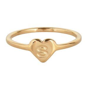 ring met letter s goud