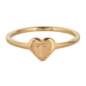 ring met letter t goud