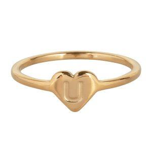 ring met letter u goud