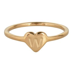 ring met letter w goud