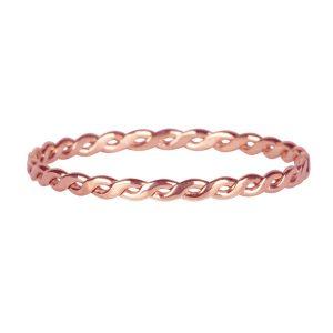 dunne gevlochten ring van staal rose goud