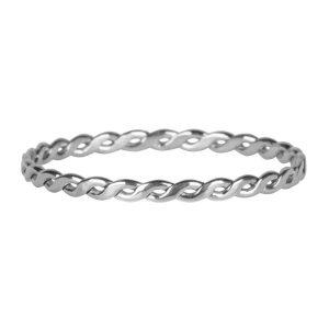 dunne gevlochten ring van staal zilver
