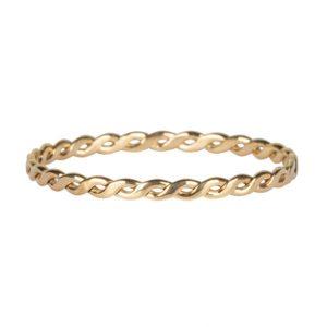 dunne gevlochten ring van staal goud