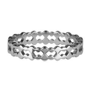 ring dubbel van staal zilver