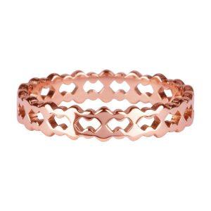 ring dubbel van staal rose goud
