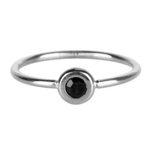 ring rond met zwarte steen van staal zilver