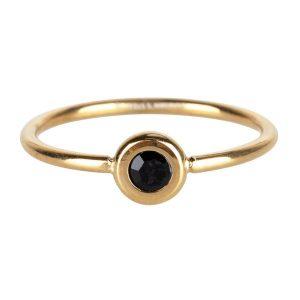 ring rond met zwarte steen van staal goud