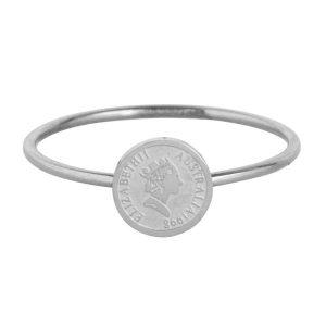 ring met muntje van staal zilver