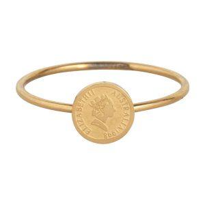 ring met muntje van staal goud