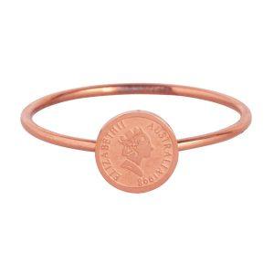 ring met muntje van staal rose goud