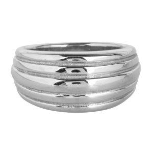 ring dubbele lagen strepen van staal goud