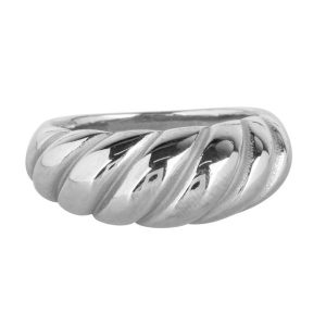 croissant ring van staal zilver