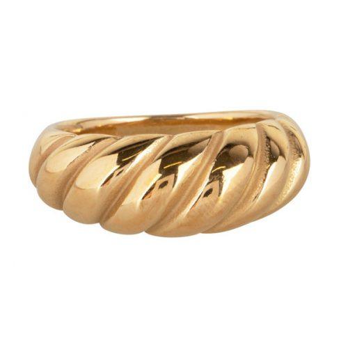 croissant ring van staal goud