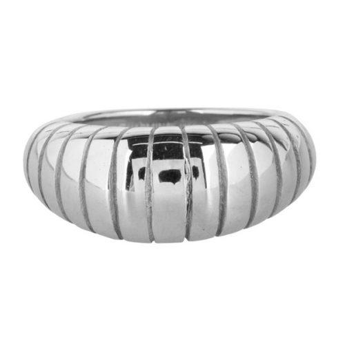 ring strepen schelp groot van staal zilver